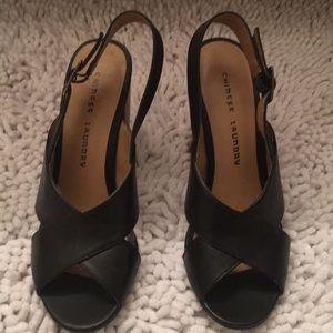 Black sling back chunky heel